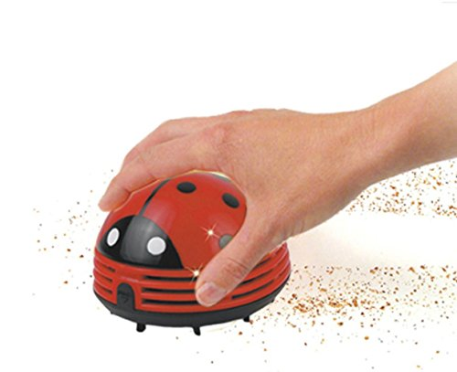 HONBAY Ladybug Shaped Portable Corner Desk Vacuum Cleaner Mini Cute Vacuum Cleaner Dust Sweeper