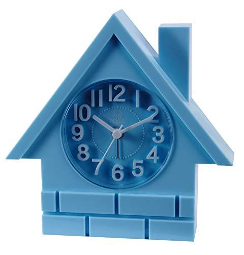 HX Cartoon-Stil Hausalarm Haus Wecker FP stereoskopische 3D-Zifferblatt Farbe Wort direkt ab Werk Verkaufspreis (Color : Sky-Blue)