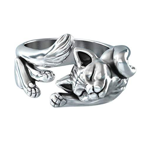 CLFYOU Tierform-Öffnungs-Ring-Frauen-Ring Schmuck Accessoires Katze Metallring Tierform-Öffnungs-Ring für Geburtstags-Party-Reisen