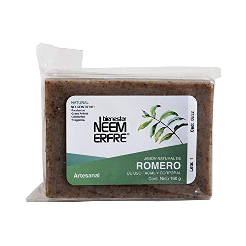 Jabón Natural de Romero Artesanal de Neem Aceite Oliva Tea Tree - Sin Parabenos Petrolatos Grasa Animal- 150 g - 5.29 oz-Bienestar Neem Erfre