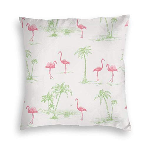 XCNGG Brewster Sarasota Pink Flamingos Printed Throw Pillow Case Covers Velvet Cushion Cover for Sofa Couch and Bed,18'x18'