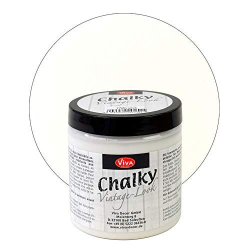 Viva Decor® Chalky Vintage-Look (250 ml, Weiß) dekorative Lasur - Vintage Kreidefarbe für Shabby Chic - Chalk Paint für Innen und Außen - Made in Germany