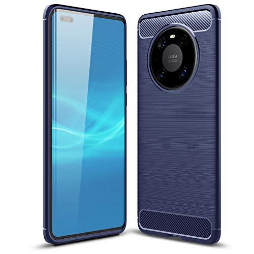 TTVie Hülle für Huawei Mate 40 Pro, Ultra Slim Weiche Karbon Optik TPU Silikon Handyhülle Schutz vor Stürzen & Stößen Schutzhülle für Huawei Mate 40 Pro Smartphone 2020 Modell, Indigo
