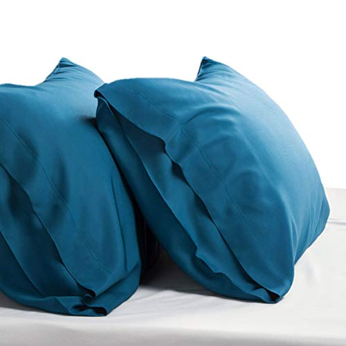 Bedsure Cooling Bamboo Pillowcases Set of 2 - Teal Breathable Cool Ultra Soft Pillow Cases - Viscose from Bamboo - Organic Natural Silky Material, Moisture Wicking(Teal, Standard Size 20x26 inches)