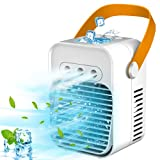 Portable Air Conditioner, Updated 3 in 1 Rechargeable Noiseless Evaporative Air Conditioner with LED Light/Humidifier, Air Cooler with Handle, Simply Modern Mini Air Conditioner Fan for Office
