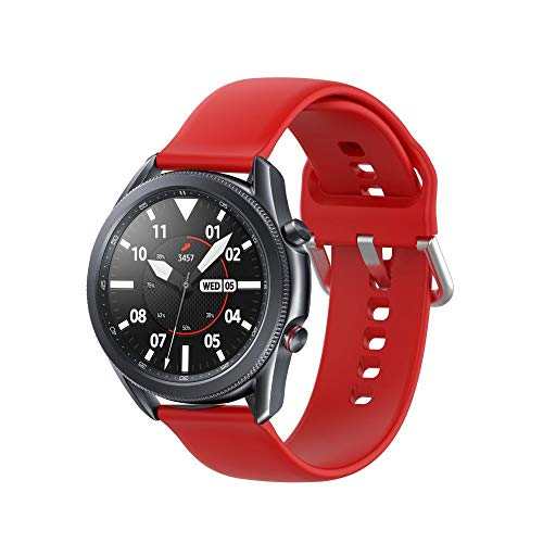 Tech-Protect - Correa para Samsung Galaxy Watch 45 mm, compatible con Galaxy Watch 3, correa deportiva de silicona suave, color rojo