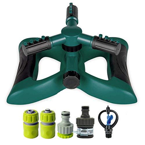 Koreyoshi Lawn Sprinkler System 360° Rotating Adjustable Sprinkler Head 3arm Sprayer Garden Sprinkler Irrigation System Large Area Covering Up to 3600 Square Feet Style 2