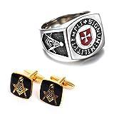 crintiff - Masonic Ring from The Order of The Temple with Maltese Cross : Templi Signum Militi and Gold Freemason Cufflinks