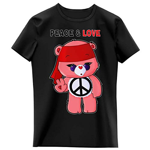 T-Shirt Enfant Fille Noir Parodie Bisounours - Bisounours - Peace and Love ! (Chibi Version) (T-Shirt Enfant de qualité Premium de Taille 4 Ans - imprimé en France)