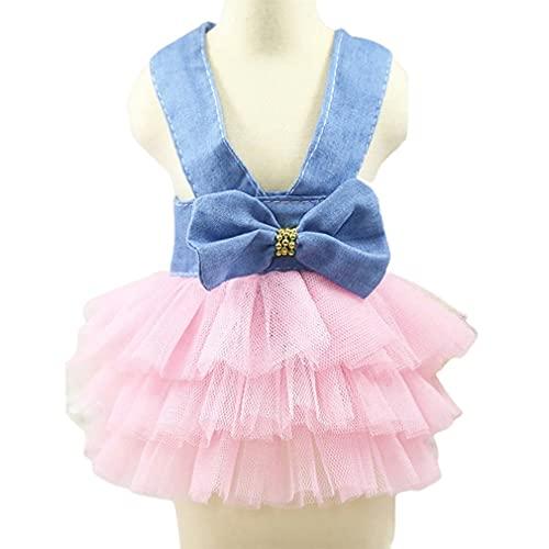 SeniorMar-UK Hundekleider Verkleidete Hundekleidung für Hunde Ornament Schleife Hundekleid Verkleidungen Prinzessin Eleganter Rock Heimtierbedarf blau und rosa S