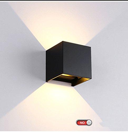 Tout en aluminium noir conduit en aluminium imperméable à l'eau Dimming Square Wall Lamp (Couleur : Lumière chaude-6w)