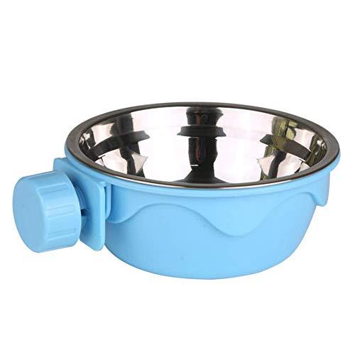 Little Qi Garden ペットボウル ハンガー ゲージ用 ペット食器 餌入れ ヘルスウォーターボウル 猫 犬 うさぎ 小動物用 食器 固定 取り外し可能 (ブルー)