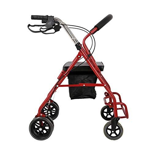 Rollator con 4 Ruedas Ayuda para Caminar, Andador Caminador, Andador para Ancianos y Minusválidos, Ligero, Plegable, Cesta de Tela, Freno en Manetas,Shopping Bag