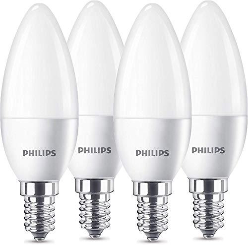 Philips LED Lampe ersetzt 40W, E14, warmweiß (2700 Kelvin), 470 Lumen, Kerze, Viererpack