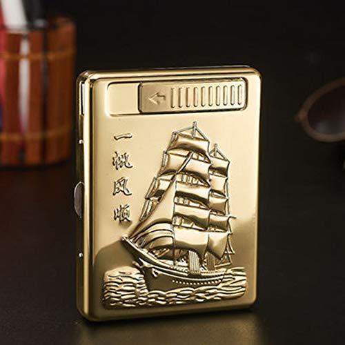 Abstract Tragbare Herren Zigarettenetui Metall Full Pack 20 Reguläre Zigarettenbox Halter USB Wiederaufladbar Cigarflameless Windproof (Gold Boot)