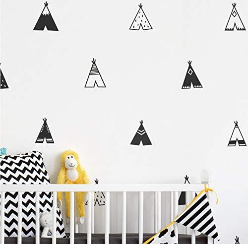 Estilo nórdico Teepee vinilo etiqueta de la pared decoración infantil, moderno dormitorio de los niños tatuajes de pared lindas tiendas de campaña tribales Art Decor40 piezas tipis 9 cm a 10 cm