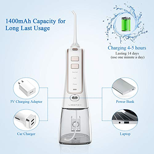 Cordless Water Flosser for Teeth - Liberex Portable Oral Irrigator Water Dental Flosser IPX7 Waterproof 300ML 3 Modes 5 Jets Deep Clean Helps Whiten Teeth, USB Rechargeable for Home Travel with Bags