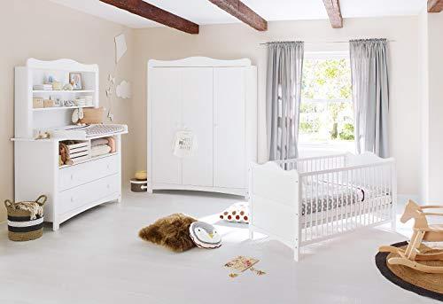 Pinolino Kinderzimmer Florentina, Kinderbett mit Lattenrost, Wickelkommode inkl. Wickelaufsatz, Regalaufsatz und Schrank, für Babys und Kleinkinder, aus weißem Dekor