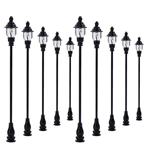 Evemodel LQS21 10PCS Model Railroad Train Lamp Posts Led Street Light Lamps OO / HO Scale