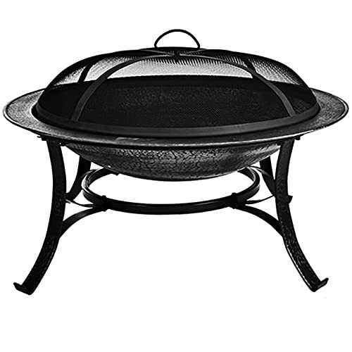 Outdoor Fire Pit, Cast Iron Garden Bonfire Pit Fire Bowl with Spark Screen Wood Burning for Patio Picnics Travel Camping and Backyard