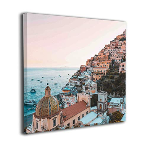 "Amonee 12""x12"" Canvas Wall Art Print Positano Amalfi Coast Campania Sorrento Framed Canvas Pictures Prints Contemporary Artwork Ready to Hang for Home Decoration Wall Decor"