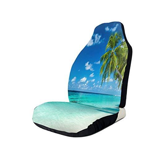 DISADI Beach Palm Trees Funda de Asiento de Coche Bonita Funda de cojín de Coche Compatible con la mayoría de los Accesorios de Interior de Coche de Moda Funda de Asiento (Juego de 2)