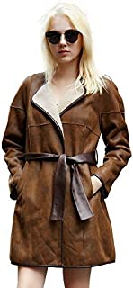 Big Sale Women Spring Winter Brown Faux Shearling Leather Coat