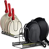 Pot Racks Organizer for Cabinet - Scratch Protective Padding - 2 Large Racks 8 Adjustable Dividers - Expandable Storage for Pots and Pans Holder Organizer Rack Kitchen Cabinet Organizers - Dark Grey