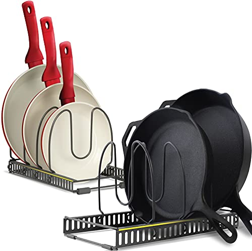 8+ Pan Organizer Rack for Cabinet - Scratch Protection - 2 Large Racks 8 Adjustable Dividers - Expandable Storage for Pots and Pans Holder Organizer Rack Kitchen Cabinet Organizers - Dark Grey
