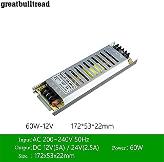 LED Ultra-Thin Drive Switching Power Supply DC12v 60W 100W150W 200W 300W Special Power Supply for Light Box (DC12V 5A 60W)