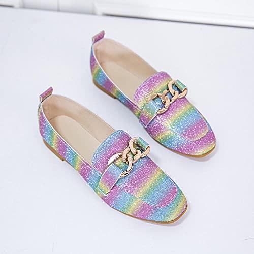 Ksnrang Flache Schuhe Kinder Sandalen Sandalen frühling und Herbst fuß Faule Schuhe koreanische Mode einzelne Schuhe soziale Frauen Schuhe erbsen Schuhe-Regenbogenfarbe_41.