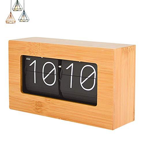 HAN XIU Reloj de torneado de páginas automáticas, Reloj de bambú Roto Digital Retro Retro Reloj para la Sala de Estar Decoración