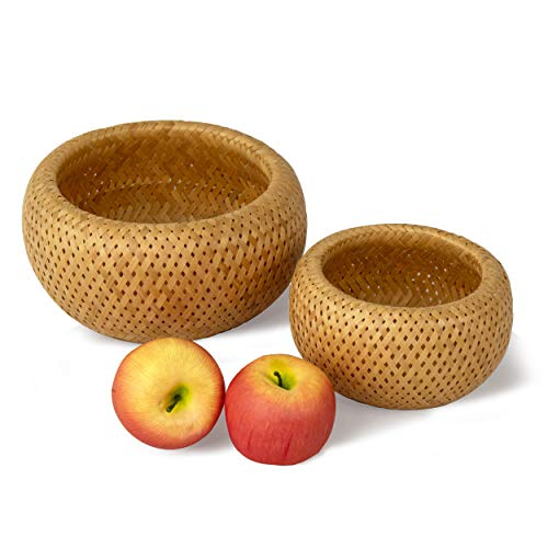 Bamboo Wicker Display Bowl - Hand Woven Shallow Fruit, Food, Bread Serving Basket   Rustic Key, Toy, Wallet, Entryway Table Storage Bowl  Circular Woven Decorative Straw Tray Basket (Set 2)