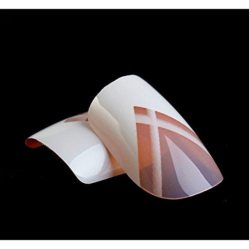 Faux Ongles Bling Art Blanc lignes 24 Squoval Moyen Faux bouts d'ongles acrylique de la colle