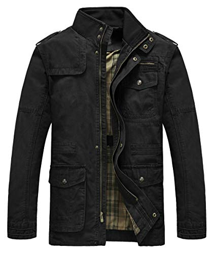 Heihuohua Men's Field Jacket Cotton Stand Collar Lightweight Military Coat
