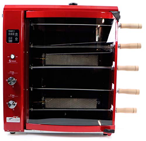Brazilian Flame BG-05LXK-RED Red Brazilian Gas Rotisserie Grill with 5 Skewers and Upper Tray Grill Rotisseries
