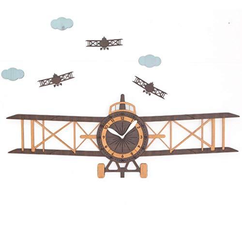 Q-HL Reloj de Pared Dormitorio Creativo Moderno Avión Decoración Reloj de Madera Oficina Elegante Silencioso Sin tictac Reloj Colgante, Reloj de Pared Art Deco