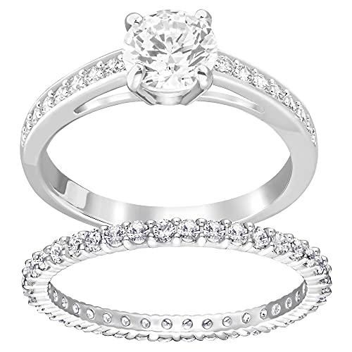 Swarovski Conjunto de anillos Attract, blanco, Baño de Rodio