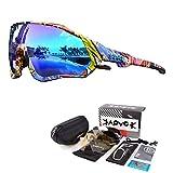 KAPVOE Polarizadas - Gafas de sol para ciclismo y montaña, 5 lentes intercambiables para hombre y mujer, con pantalla completa, anti-UV 400, ultraligeras, TR90, para correr, pescar 01