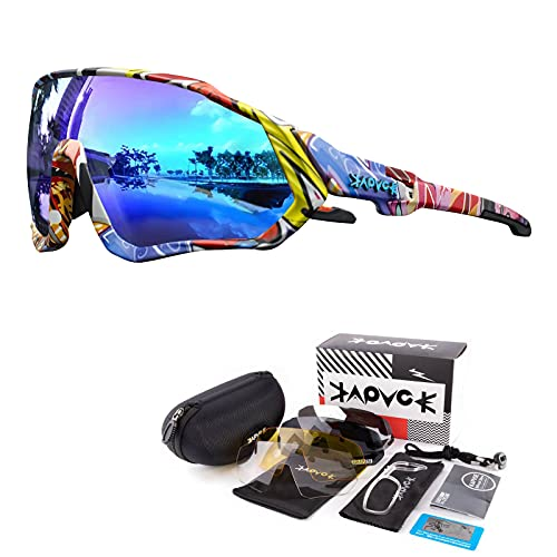 KAPVOE Polarisierte Sonnenbrille für Fahrrad, MTB, 5 austauschbare Gläser, für Herren und Damen, Vollbild, UV-Schutz 400, ultraleicht, TR90, zum Laufen, Angeln, Fahrradfahren und Sport 01