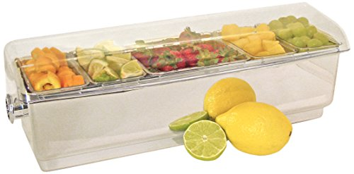 """Co-Rect Roll Top Chrome Condiment Holder Plastic Tray with Clear Lid, 18.5"""" by 6.5"""" by 6.5"""", Chrome"""
