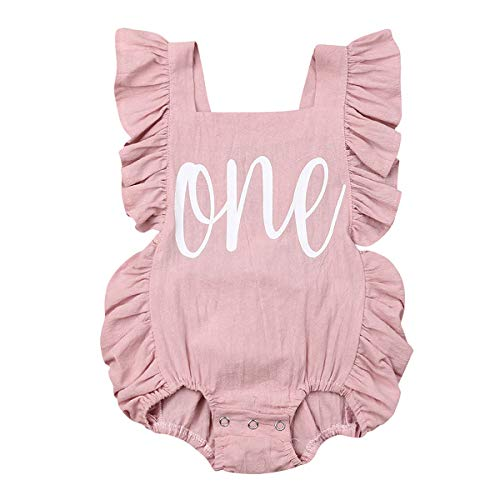 Newborn Baby Girl First Birthday Outfit Ruffle One Print Backless Jumpsuit Bodysuit (Pink,12-18 Months)