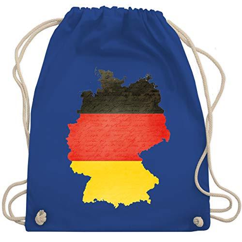 Shirtracer Fußball-Europameisterschaft 2021 - Deutschland Karte - Unisize - Royalblau - deutschlandkarte - WM110 - Turnbeutel und Stoffbeutel aus Baumwolle