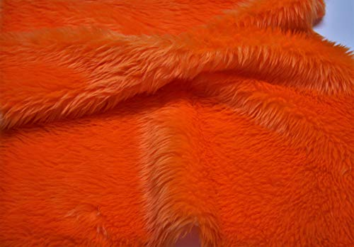 CRS Fur Fabrics Tela de Piel sintética de Color Naranja Brillante