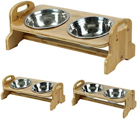 Akinerri Elevated Dog and Cat Pet Feeder Adjustable Raised Dog Bowls Includes 2 Stainless Steel product image
