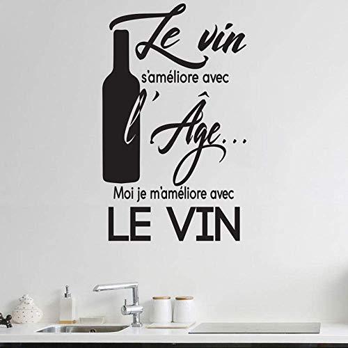 HRUIO Persönlichkeit Französisch Wein Slogan Restaurant Küche Vinyl Applique Aufkleber Küche Restaurant Selbstklebendes Wandbild 57X94Cm