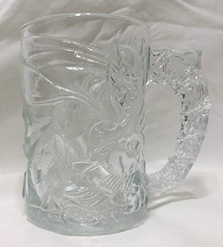 Collectible Batman Forever Glass Drinking Cup Mug - 4 1/8 inches x 2 7/8 inches - Batman and Gotham City etched in on glass - From McDonalds
