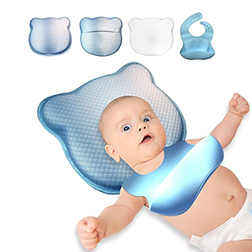 Almohada Viscoelástica Infantil para Forma de la Cabeza del Bebe - Pack x4 Cojin para Prevenir y Curar la Cabeza Plana del Bebe en Cuna - Almohada Anticolicos para la Seguridad de Bebes Recién