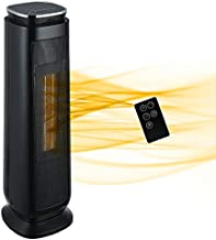 Aireplus Space Heater, 1500W Electric Ceramic Tower Heater, Oscillating Portable Heater with Adjustable Thermostat, 8 Hrs Timer, LED Display and ECO Mode, Overheat & Tip-Over Protection for Indoor Use