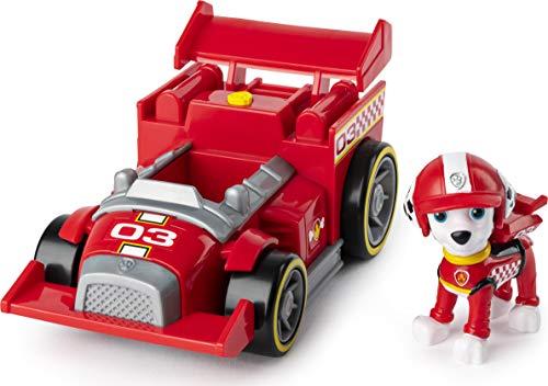 PAW PATROL Vehículo de Lujo Ready, Race, Rescue Marshall's Race and Go con Sonidos, para niños Mayores de 3 años